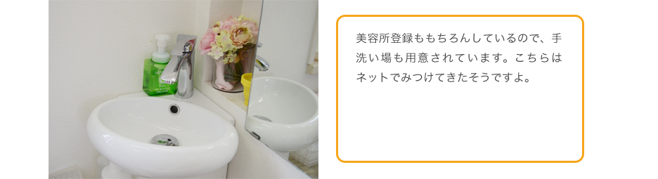 美容所登録ももちろんしているので、手洗い場も用意されています。こちらはネットでみつけてきたそうですよ。